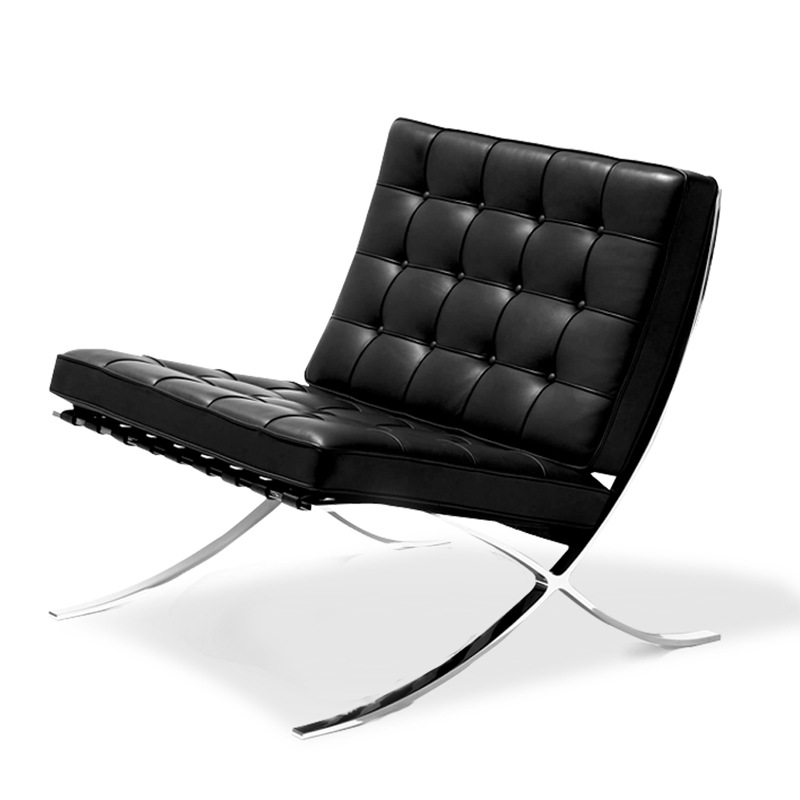 Black and white barcelona leather chair sofa and ottoman