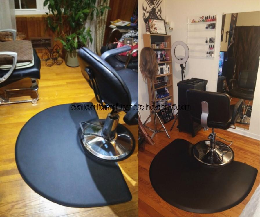 Semi circle anti fatigue black barber chair salon floor mats